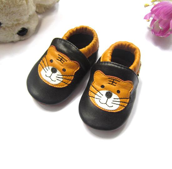Tiger soft sole baby sneakers black with cute tiger