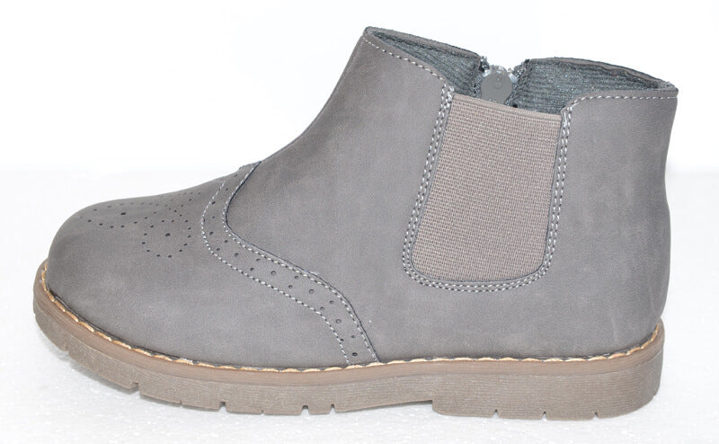 Leather Toddler Boots Kids Boots for winter grey leather with elastic panel on side