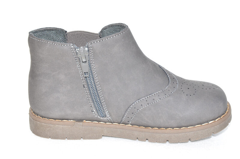 Leather kids boots toddler boots grey leather with side zip closure