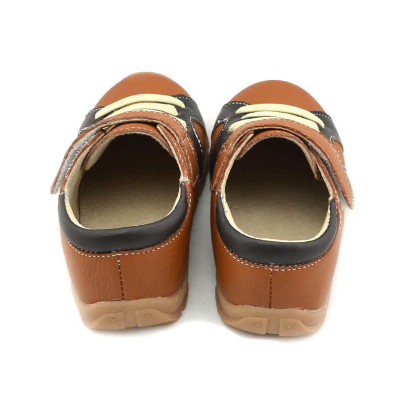 Toddler boy sneakers Whippersnapper tan coloured sneakers back view