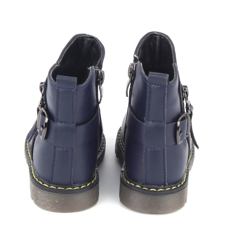 Madison girls boots navy leather kids boots back view