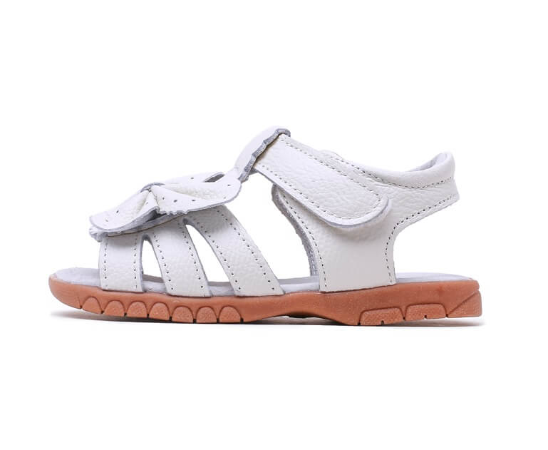 Flutter toddler girls leather sandals white leather side view velcro closure