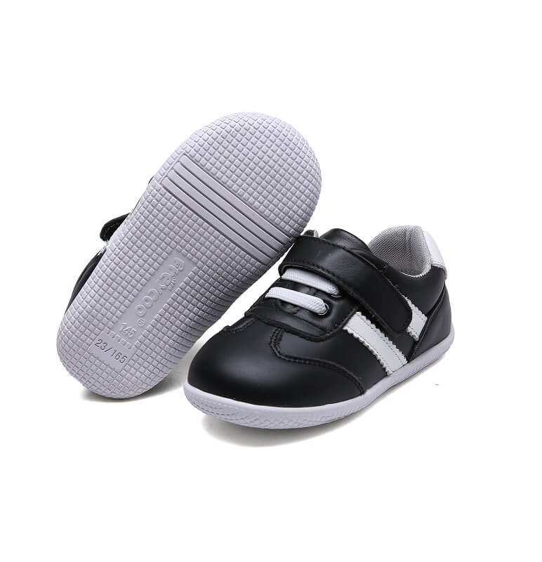 dash toddler boys sneakers black leather white stripes rubber soles