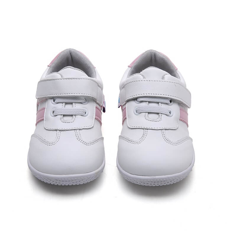 amelia toddler girls sneakers white with pink stripes