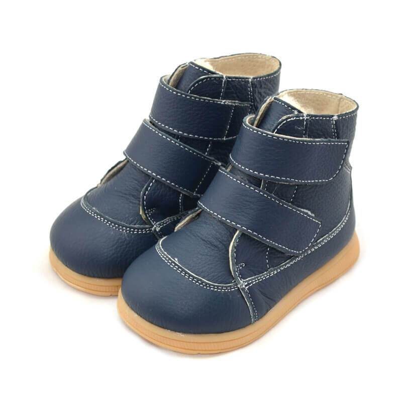 Toe warmers navy leather toddler boots velcro closure