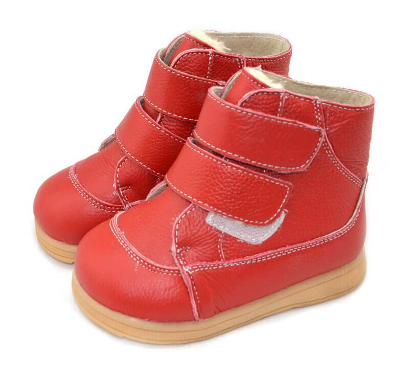 Toe warmers red leather toddler boots velcro closure