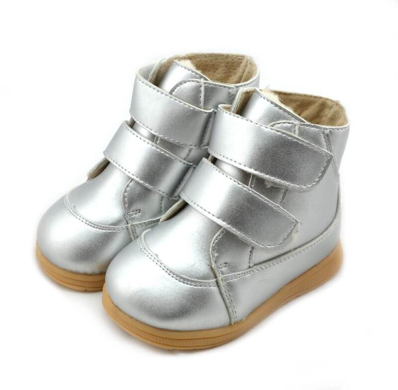 Toe warmers silver leather toddler boots velcro closure