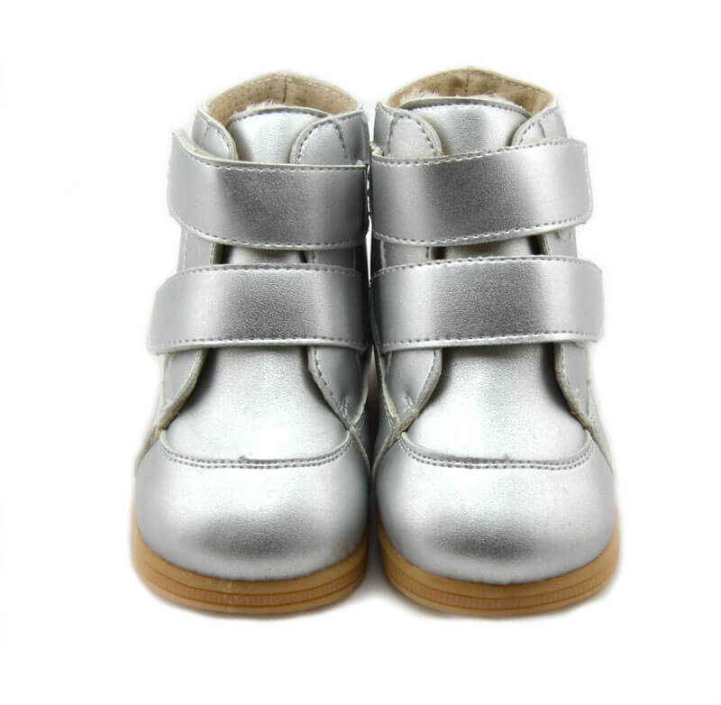 Toe warmers silver leather toddler boy boots toddler girl boots