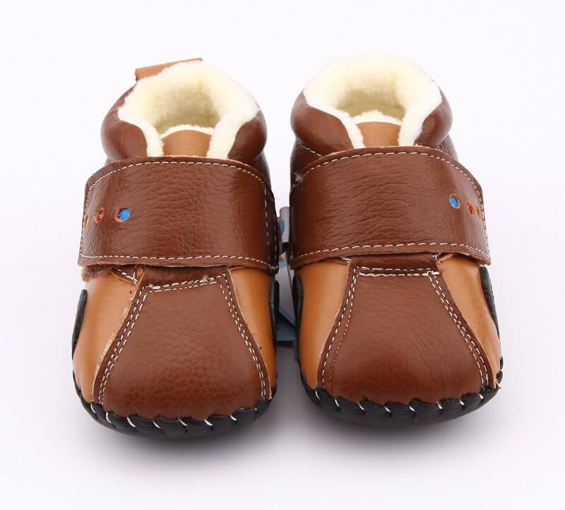 Traffic cute boots for baby boys brown leather with car detail front view