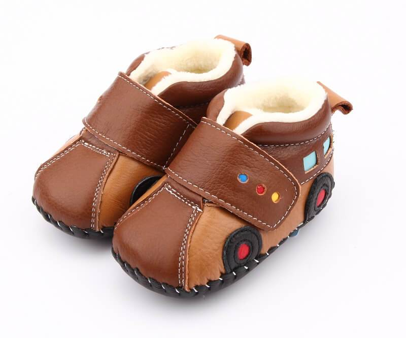 brown leather baby boy boots car winter baby booties