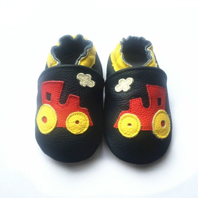 Trains navy leather soft sole baby shoes with yellow and red train
