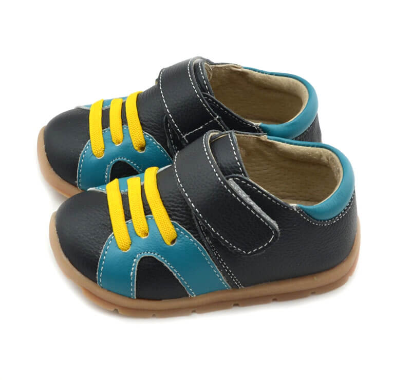 Whippersnapper black toddler boy shoes with yellow laces