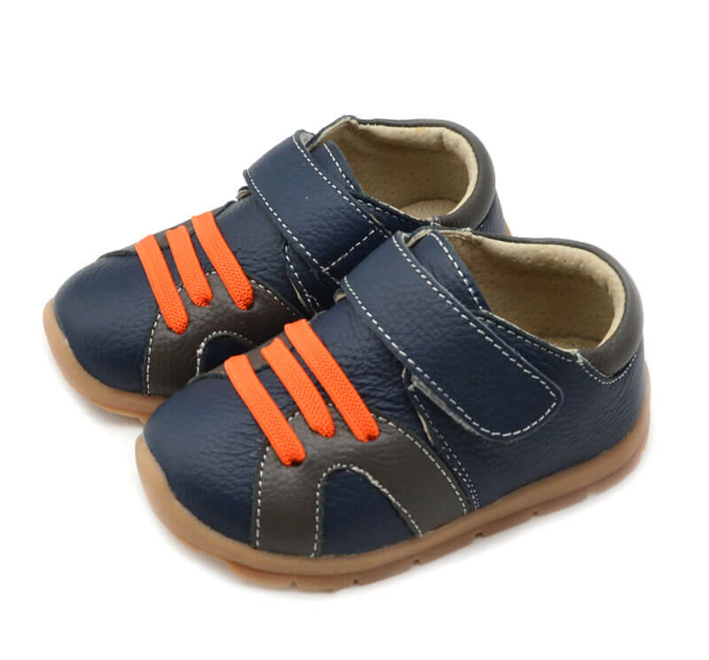 Whippersnapper navy blue toddler boy shoes with orange laces