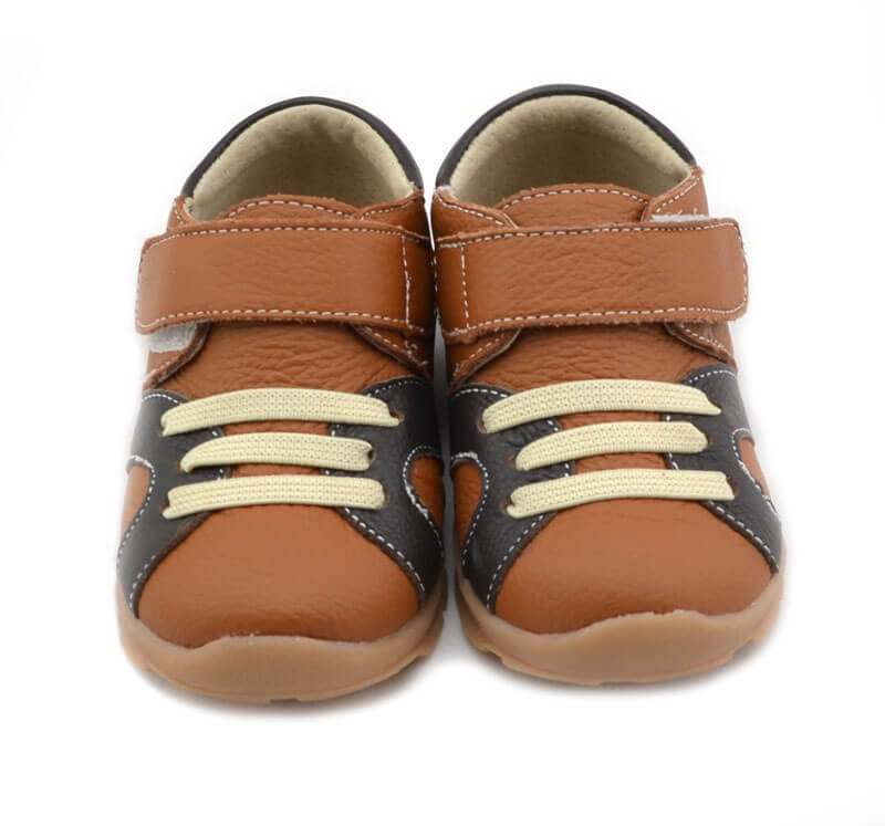 Whippersnapper tan coloured toddler boy's sneakers front view