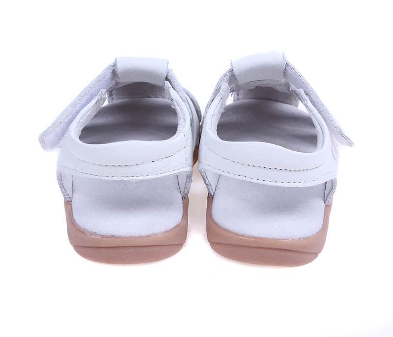 Petal white leather girl sandals back view