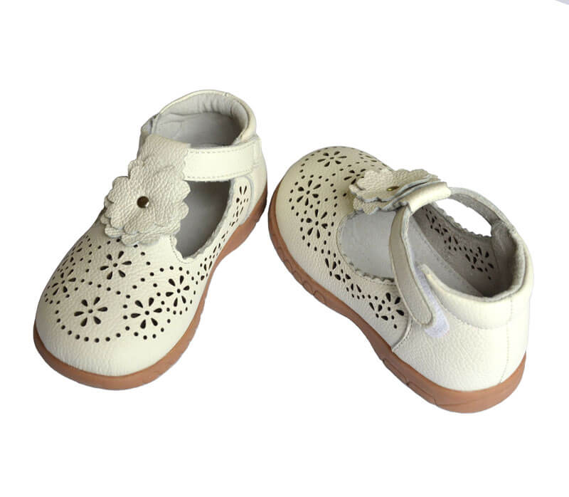 Girl shoes Forget Me Not white leather t bar kids shoes front and back view