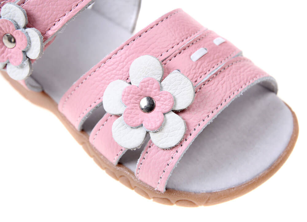 Wonderland girls sandals pink leather with flower