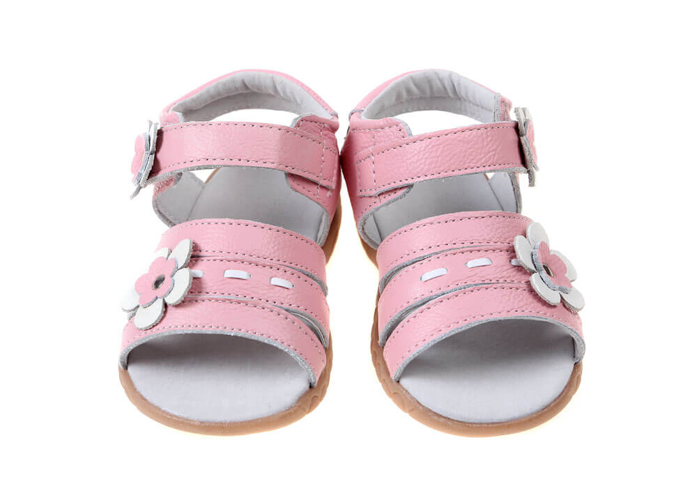 Toddler girl sandals Wonderland pink leather front view