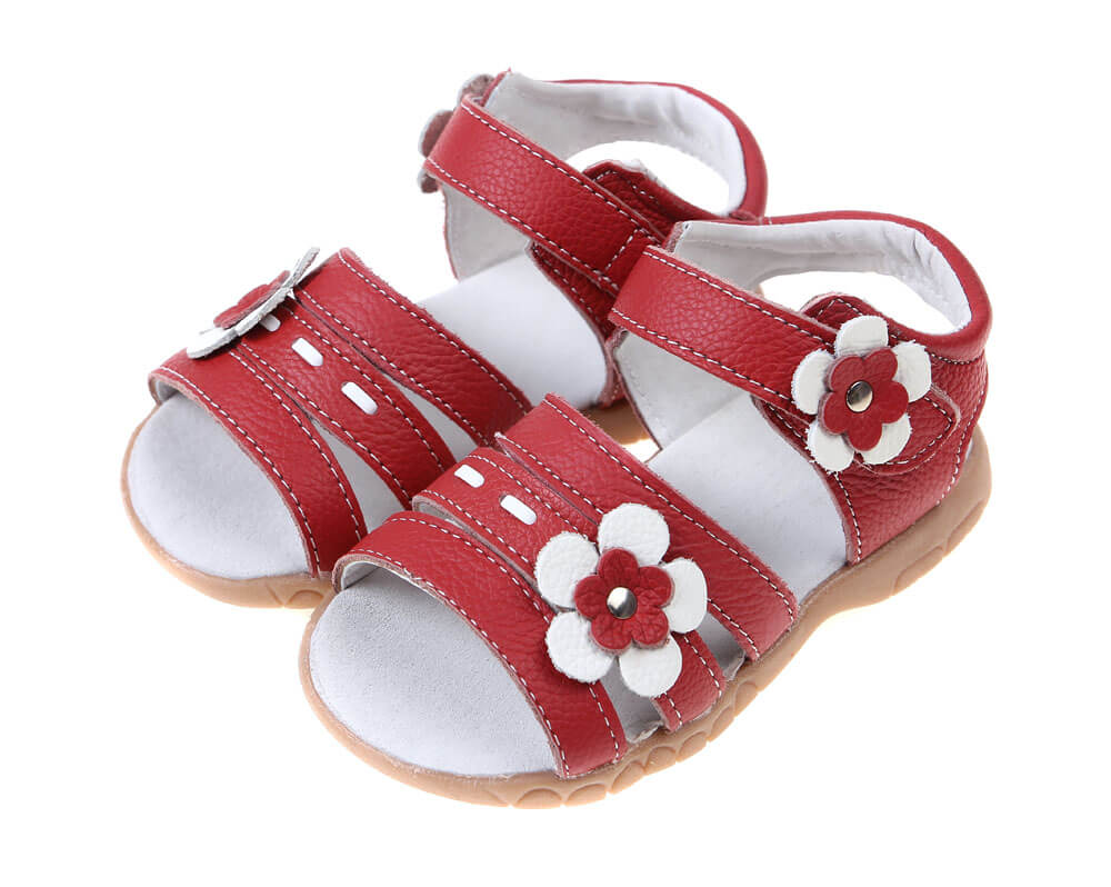 Toddler girls sandals Wonderland red leather with with stitching and flower