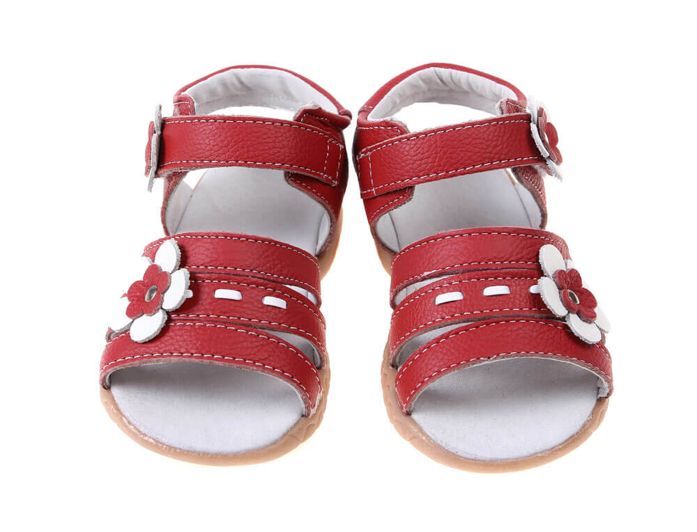 Wonderland leather girls sandals red with white flower and stitching