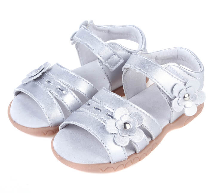 Wonderland silver toddler girl sandals perfect for flower girls and weddings