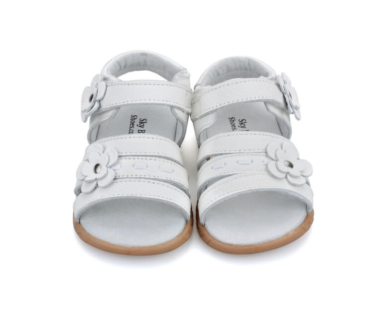 Wonderland toddler girl sandals white leather open toe