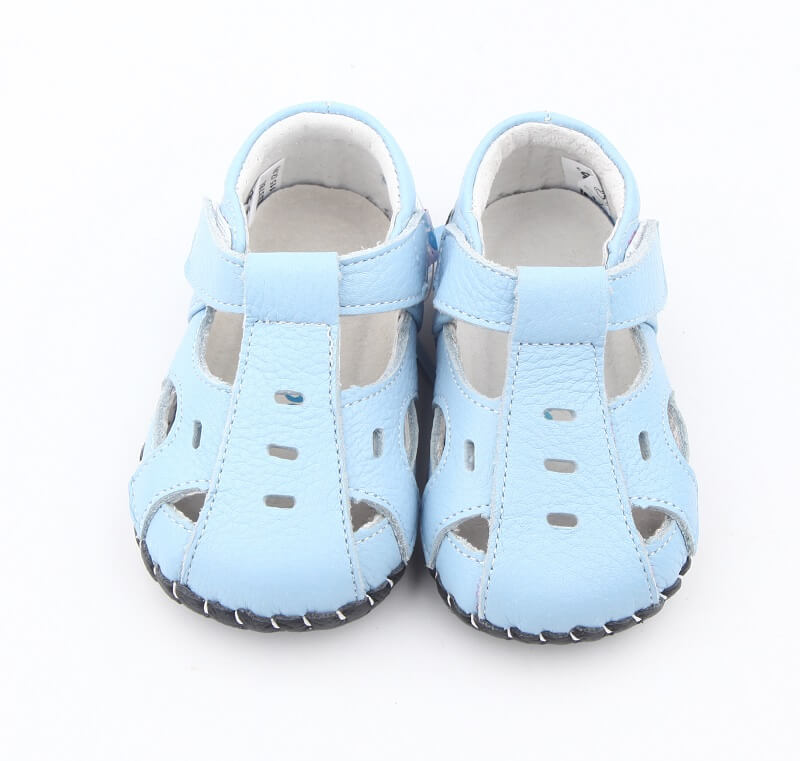 Leather first walker baby shoes light blue