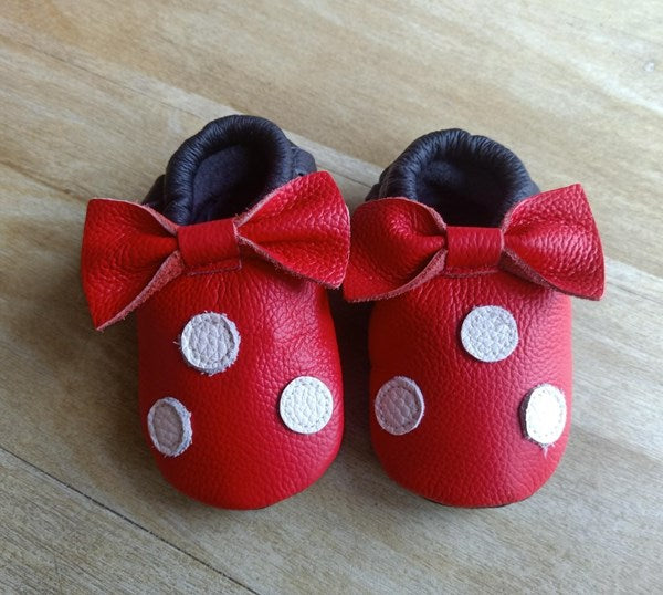 Minnie Mouse inspired soft soled baby shoes red with bow and white polka dots
