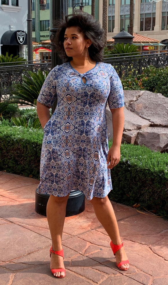 ANNA Swing Dress Blue Mosaic