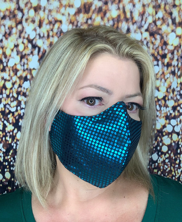 TEAL BLING MASK LIQUID SEQUINS