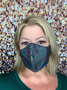 SILVER HOLOGRAPH BLING MASK LIQUID SEQUINS