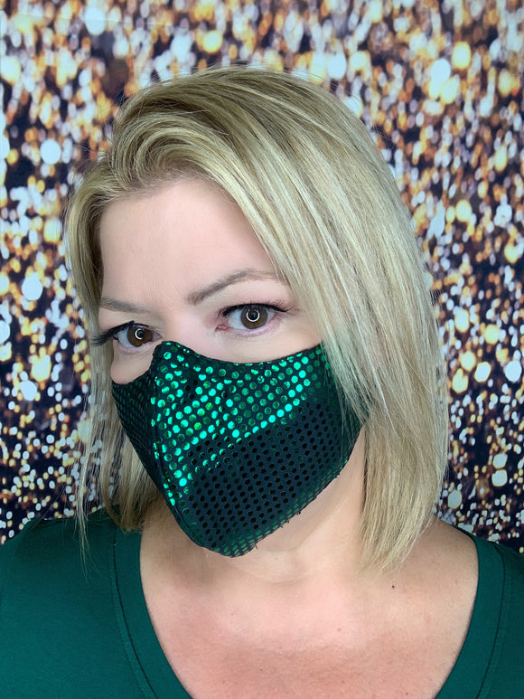 GREEN BLING MASK LIQUID SEQUINS
