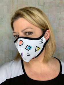 WHITE GEOMETRIC MASK (Mommy n' me Matching Avail)