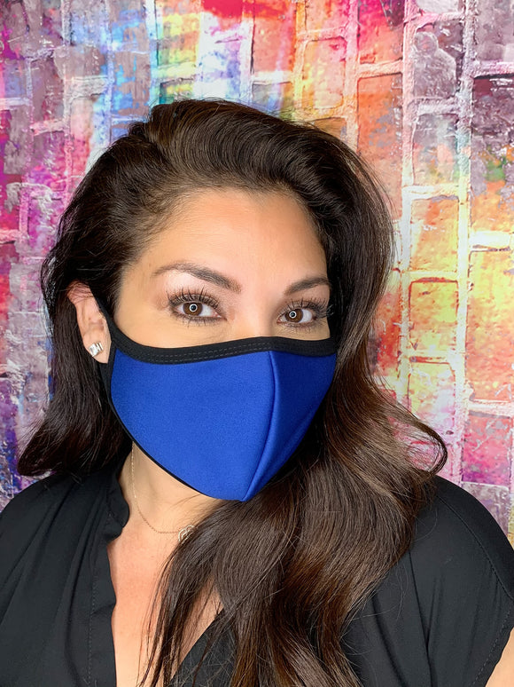 SOLID BLUE MASK WITH BLACK TRIM
