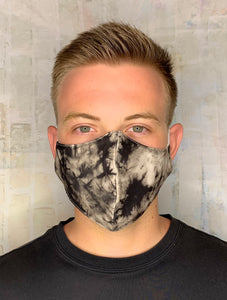 BLACK KHAKI CRACK TIE DYE MASK