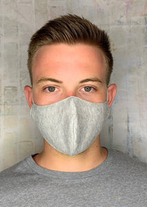 SOLID HEATHER GREY KNIT MASK LIGHTWEIGHT