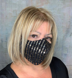 BLING BLACK GOLD SEQUINS VGK COLORS MASK
