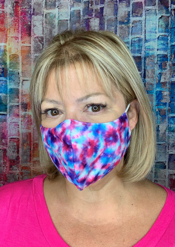 PINK PURPLE TIE DYE  MASK