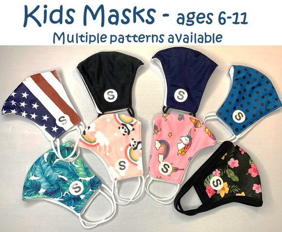 KIDS MASKS AGES 6-11 MULTIPLE PATTERNS LIGHTWEIGHT