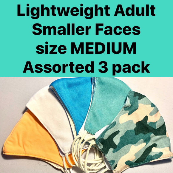 LIGHTWEIGHT FOR SMALLER FACES ASSORTED 3 PACK