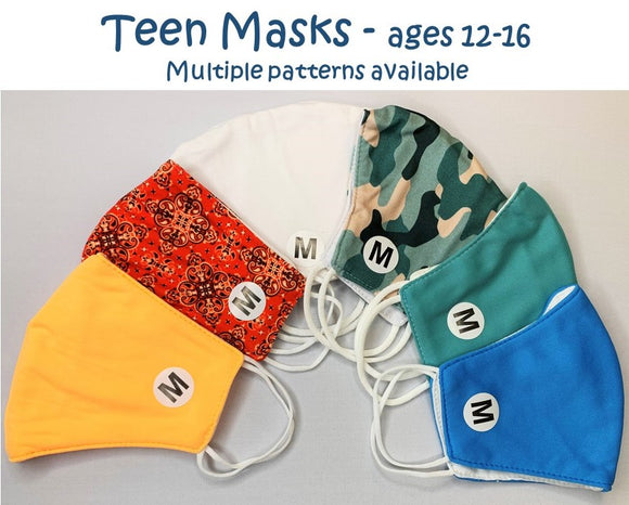 TEEN MASKS AGES 12-16 MULTIPLE PATTERNS LIGHTWEIGHT