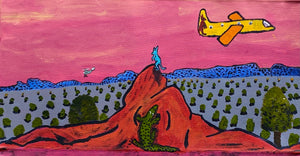 On the Plane Goin' to Land in Alice Springs- 61.5cm x 31cm