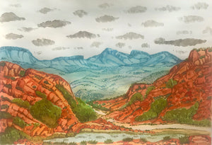Urrampinyi, West of Alice Springs NT - Framed size 57cm x 44.5cm