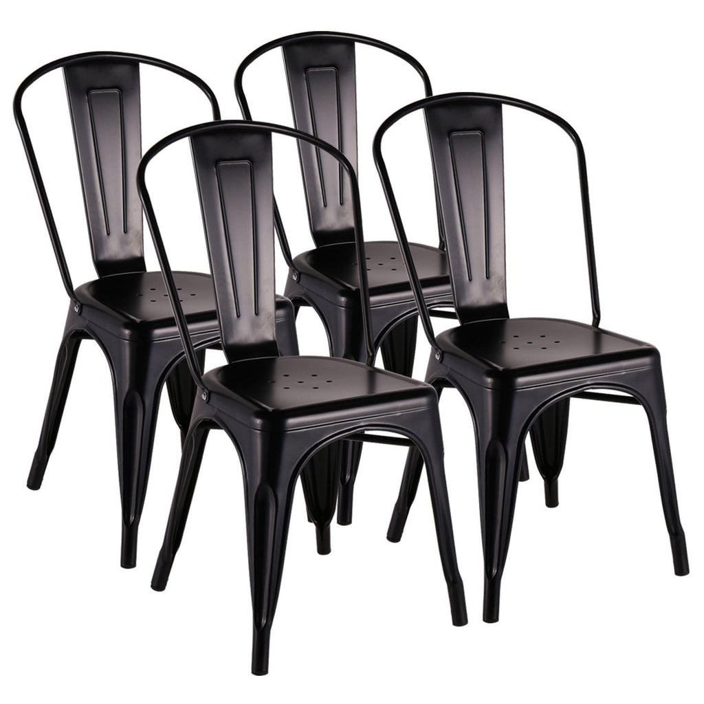 Modern Metal Kitchen Dining Room Chairs Stackable With Back Indoor Outdoor Dining Set Of 4 Vecelo