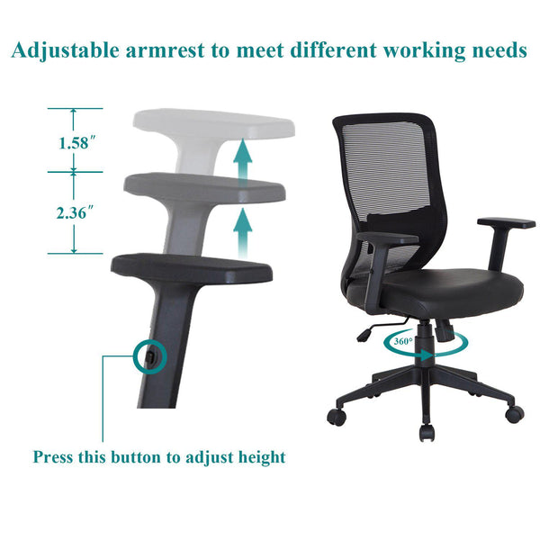 Home Office Chair with Armset Pu Leather for Task Desk Work