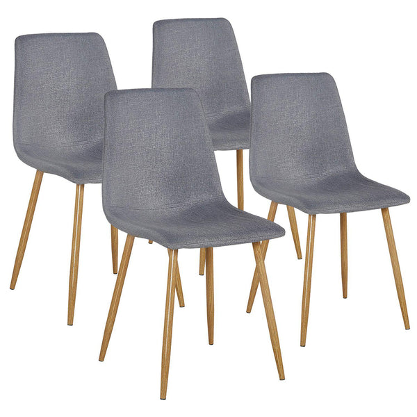 Set of 4 Dining Side Chairs Gray