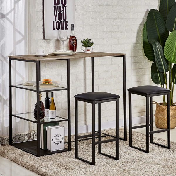3 Piece Pub Dining Set Table VECELO