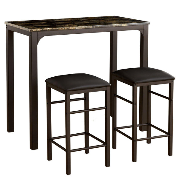 Pub Table 3 Piece Set 2 Stools Padded Seat Marble Top Metal Base