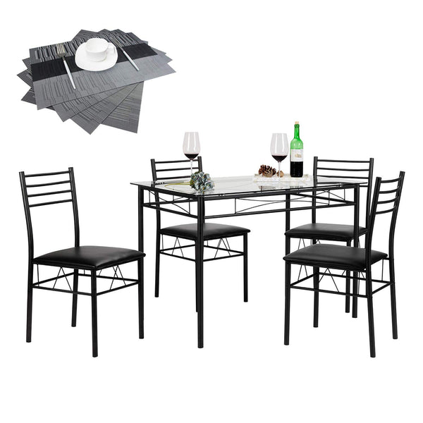 5 Pcs Glass Dining Table set