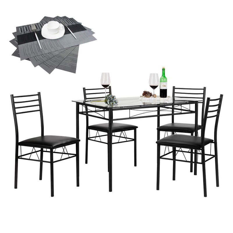 Dining Table Set with 4 Chairs - Vecelo furniture